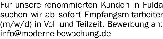 Für unsere renommierten Kunden in Fulda suchen wir…