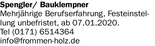 Spengler/ Bauklempner (m/w/d)