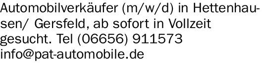Automobilverkäufer (m/w/d) in Hettenhausen/ Gersfeld