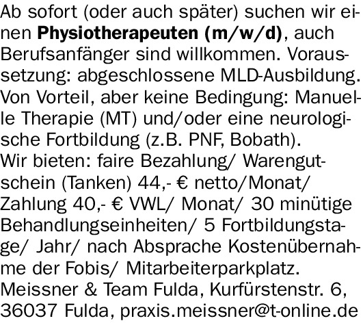 Physiotherapeuten (m/w/d)