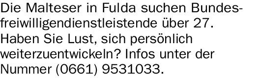 Die Malteser in Fulda suchen Bundesfreiwilligendienstleistende (m/w/d)