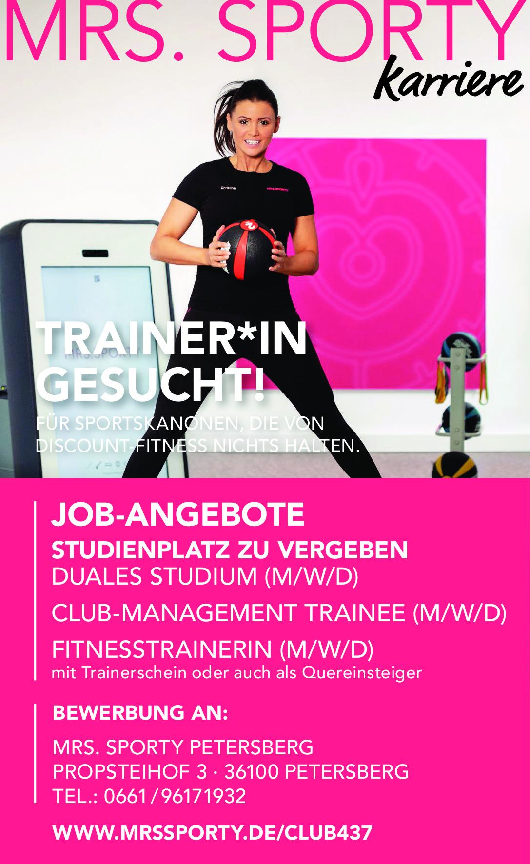 Trainer/in (m/w/d) u. Mitarbeiter/in (m/w/d) gesucht
