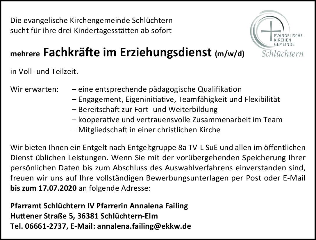 Fachkräfte im Erziehungsdienst (m/w/d)