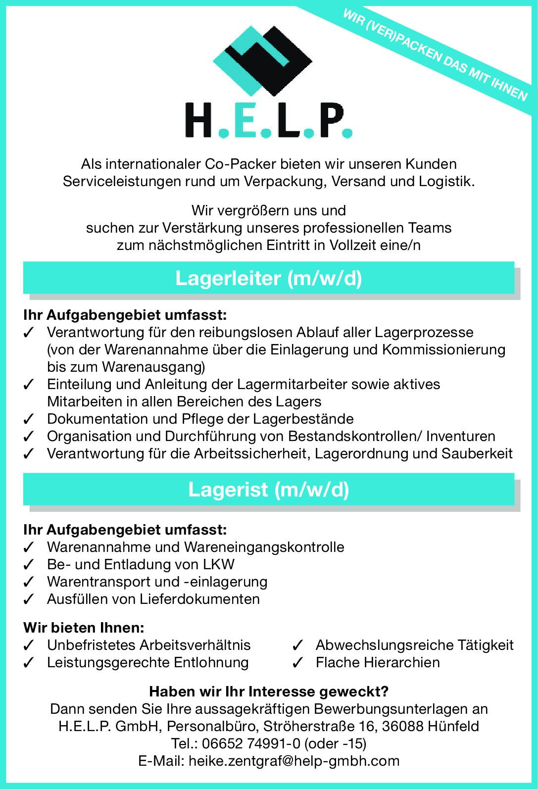Lagerleiter (m/w/d) / Lagerist (m/w/d)