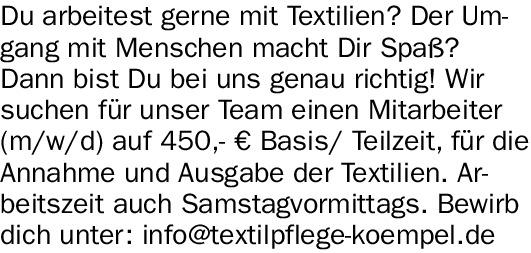 Du arbeitest gerne mit Textilien?