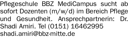 BBZ MediCampus sucht Dozenten (w/m/d)