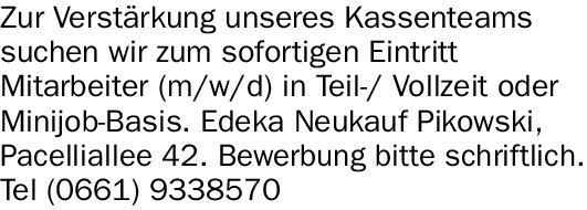 Mitarbeiter (w/m/d) für Kassenteam