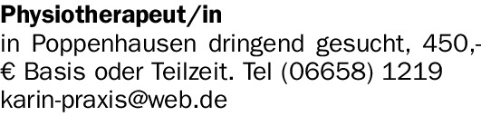 Physiotherapeut/in (w/m/d)