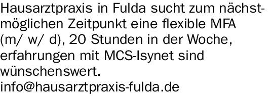 MFA (w/m/d) MCS-Isynet Erfahrungen