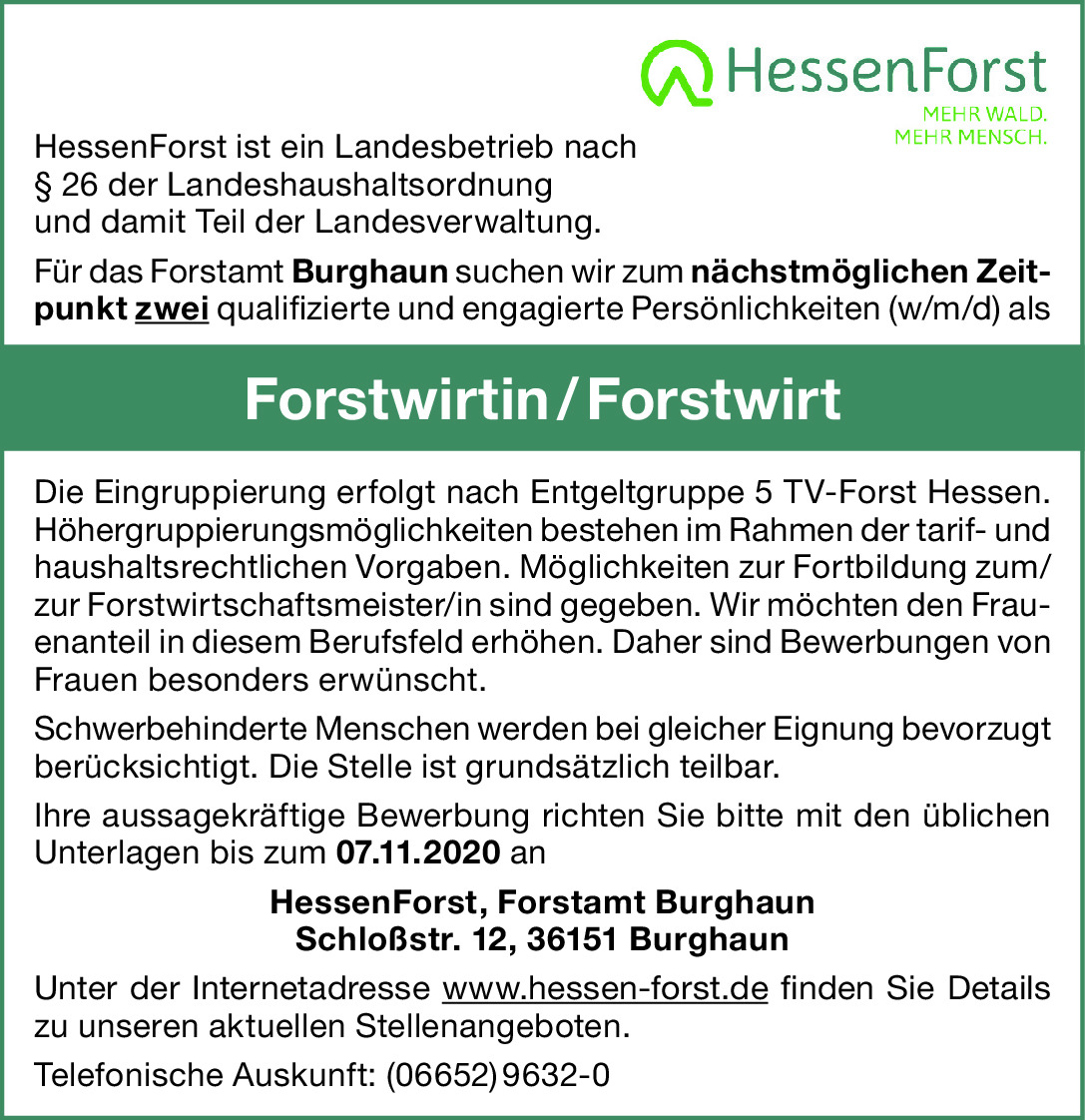 Forstwirtin/Forstwirt (w/m/d)