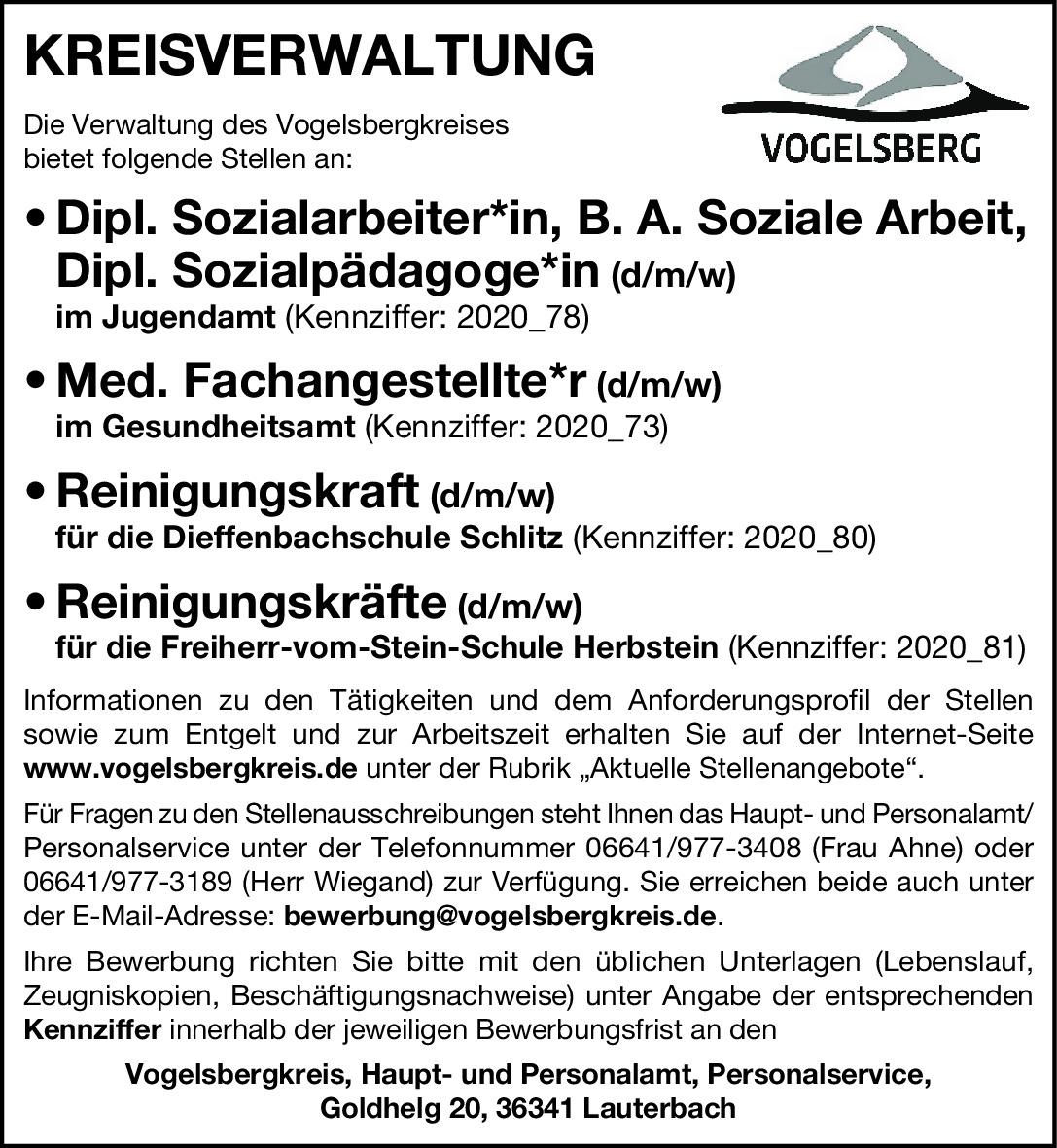 Dipl.Sozialarbeiter*in (w/m/d), Med Fachangestellte (w/m/d)