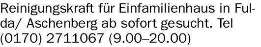 Reinigungskraft (m/w/d) für Einfamilienhaus in Fulda/