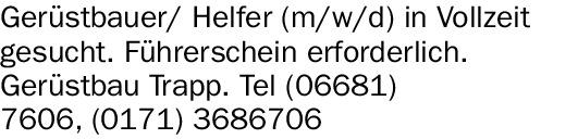 Gerüstbauer/ Helfer (m/w/d) in Vollzeit