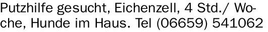 Putzhilfe (m/w/d) gesucht, Eichenzell, 4 Std./ Woche,