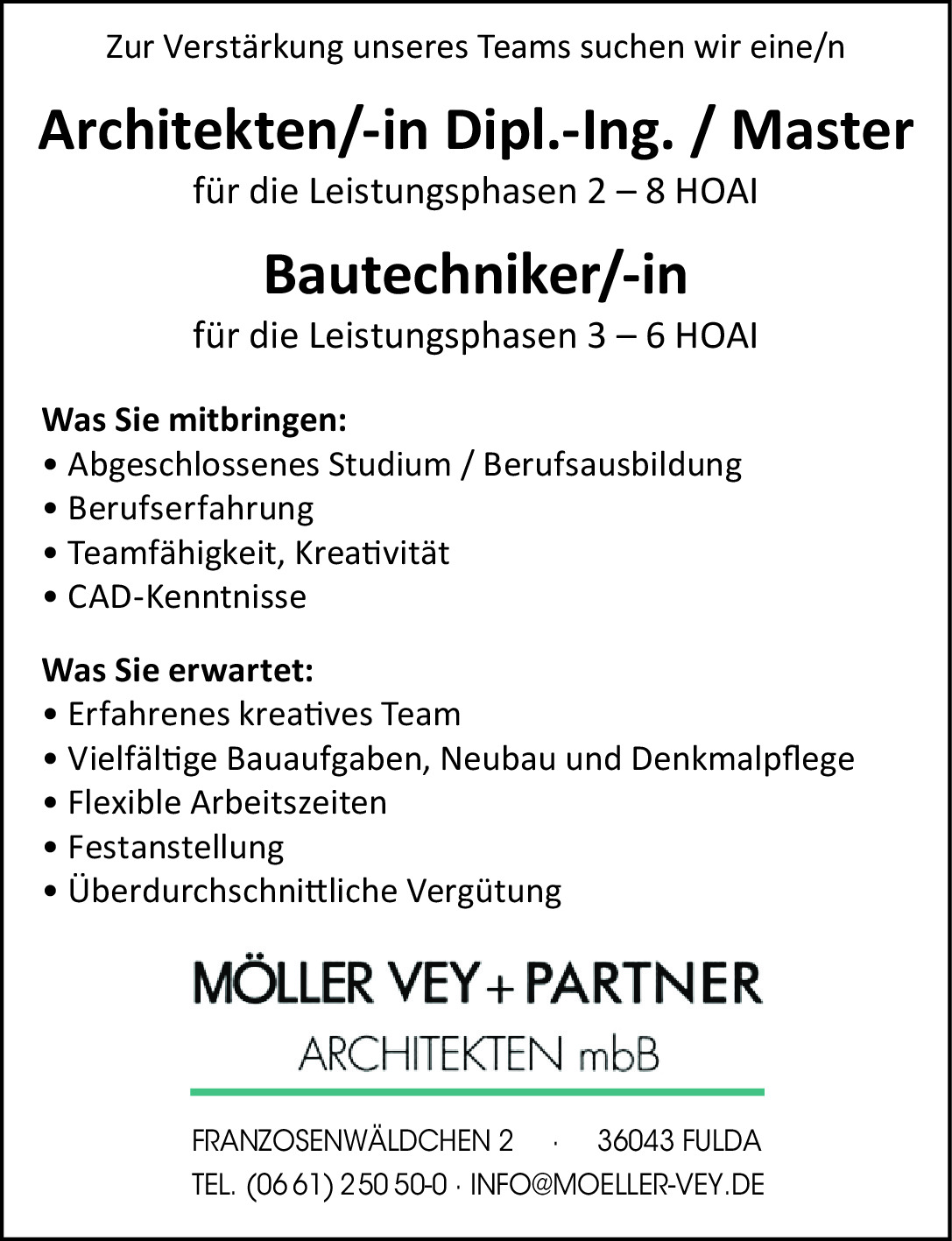 Architekt (m/w/d) / Bautechniker (m/w/d)