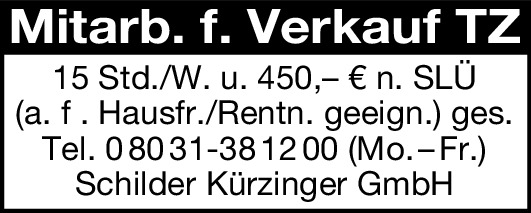 Mitarb. f. Verkauf TZ  (m/w/d)