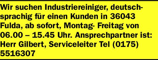 Wir suchen Industriereiniger  (m/w/d), deutschsprachig