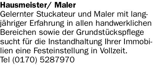 Hausmeister/ Maler