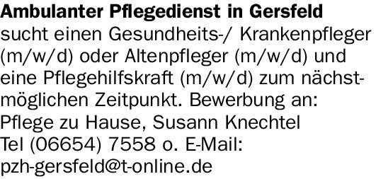 Ambulanter Pflegedienst in Gersfeld sucht ein