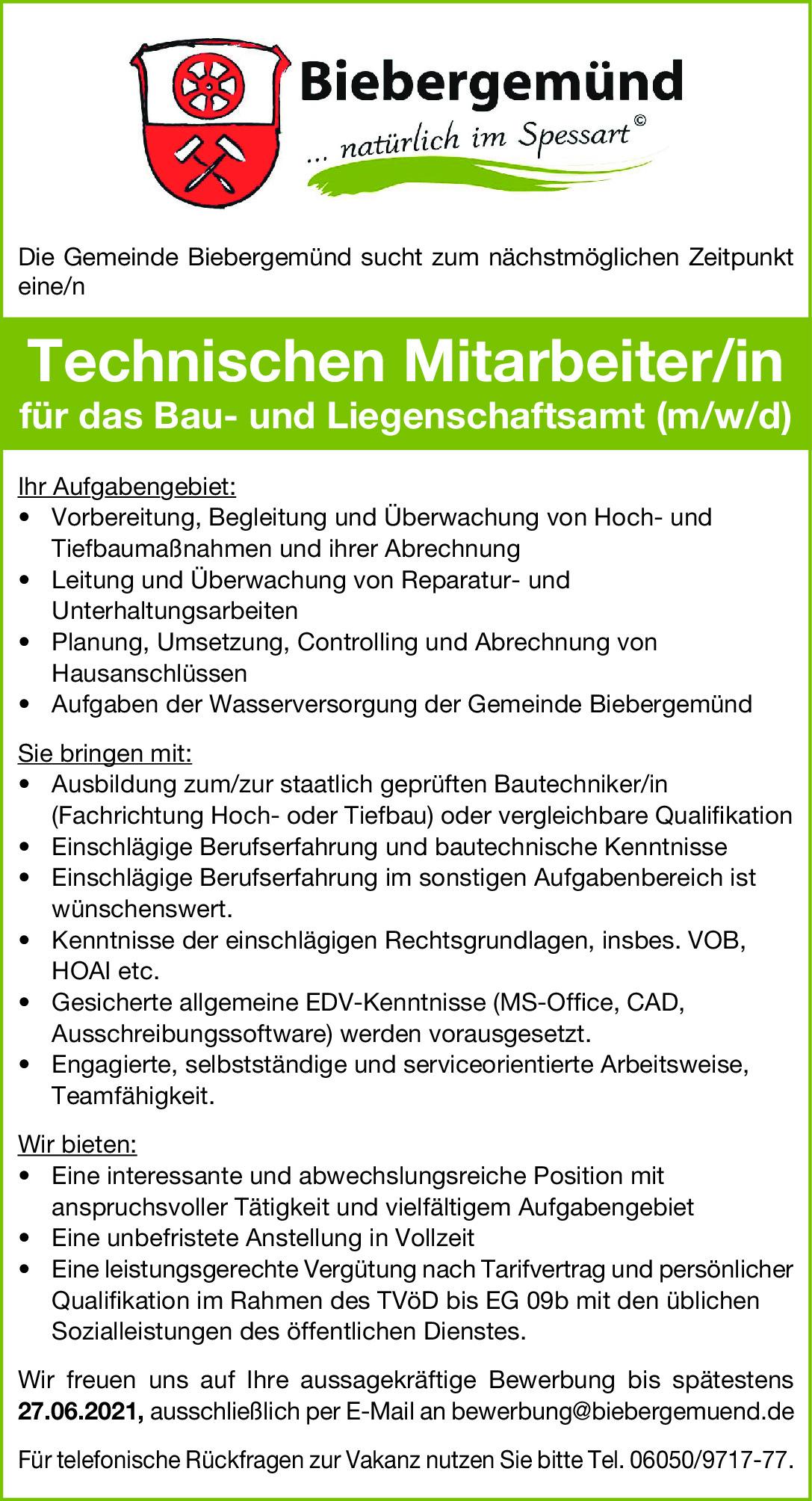 Technische Mitarbeiter/in