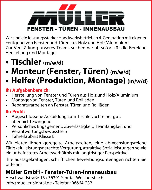 Tischler/Produktionshelfer m/w/d