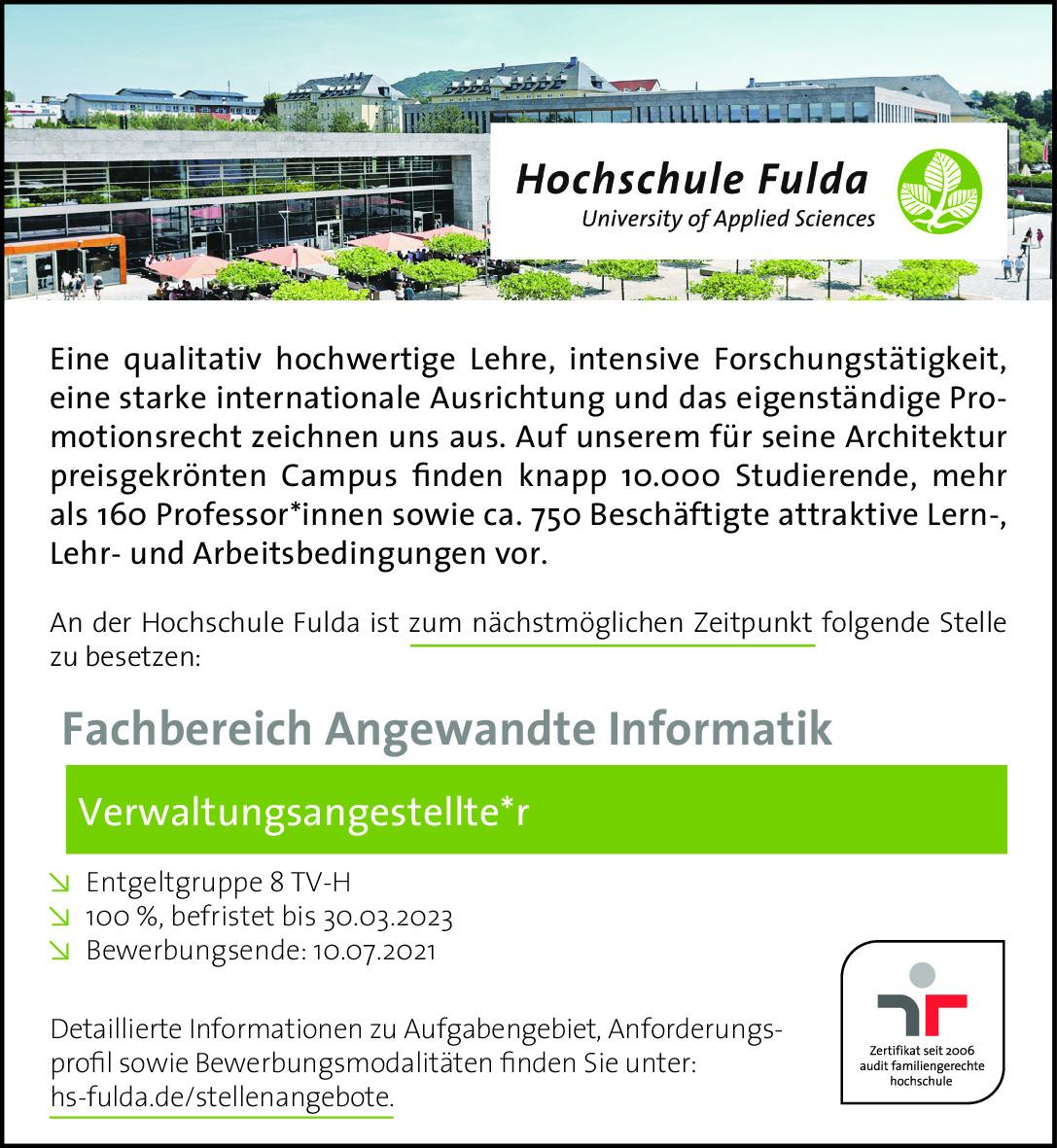 Auftragsnummer: 099390175AA Hochschule Fulda