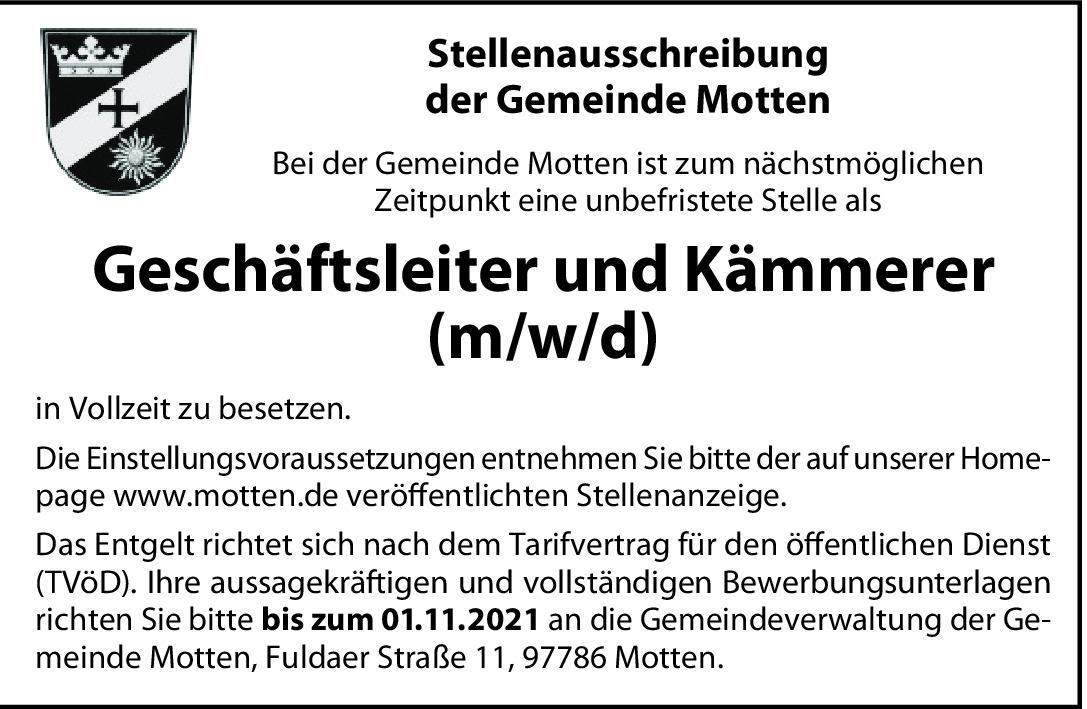 Geschäftsleiter/Kämmerer (m/w/d)